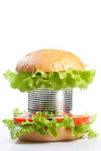 Unhealthy canned fast food hamburger — Stock Photo