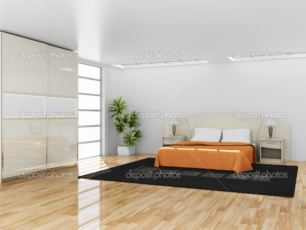 Modern interior of a bedroom ( 3d rendering ) — Stock Photo #5546507