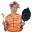 Stock Photo: Housewife with brush and pan