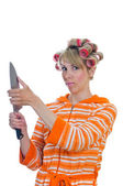 Housewife with a knife — Stock Photo
