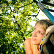Lying woman outdoors — Stock Photo
