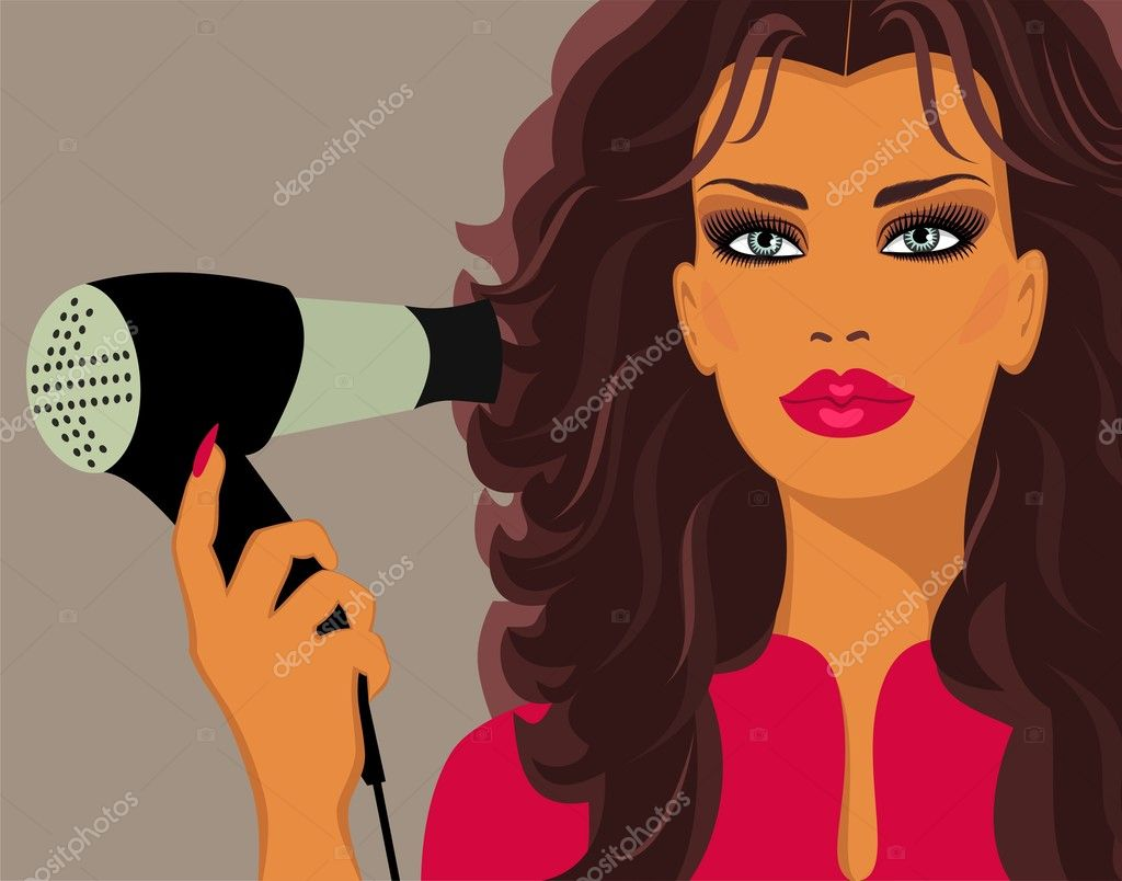 Beautiful brunette with Hairdryer  Stock Vector #5583669