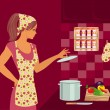Housewife in kitchen — Stock Vector #5743919