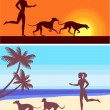 Silhouettes of greyhounds  and girl — Stock Vector