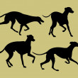 Royalty-Free Stock Vector Image: Silhouettes of greyhounds