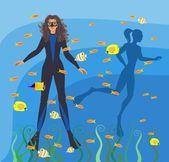 Scuba diving — Stock Vector