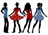 Silhouettes of the girls — Stock Vector