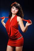 Lovely girl in red dress — Stock Photo