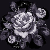 Vintage rose monocromo — Vector de stock