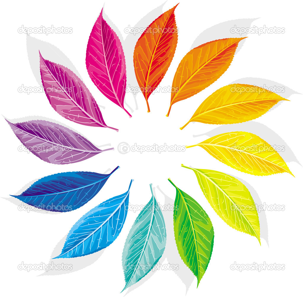 Color wheel as a dozen multi-colored leaves — Stock Vector #5910897