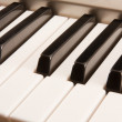 Stock Photo: Black and white piano keys.