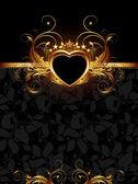 Ornate frame with golden heart — Stock Vector
