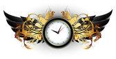 Saati çerçeve çiçek öğeleri — Stok Vektör