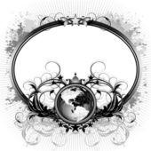 Mundo con marco ornamentado — Vector de stock