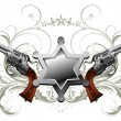 Sheriff star with guns - Stock Vector