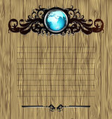 World with ornate frame — Stock Vector