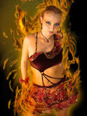 Dance in the fire — Stock Photo