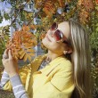 Woman in sunglasses with ash fall — Stock Photo