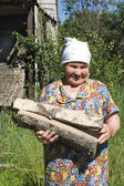 Grandmother with firewood — Stock Photo