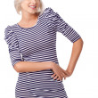 Blonde woman wearing striped dress — ストック写真