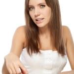 Beautiful woman choosing nail polish — Stock Photo #5655319