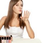 Beautiful woman drying nails — Stock Photo #5655432