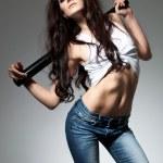Beautiful woman with baseball bat — Stock Photo