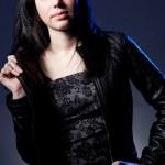Woman wearing leather jacket — Stock Photo #5772377