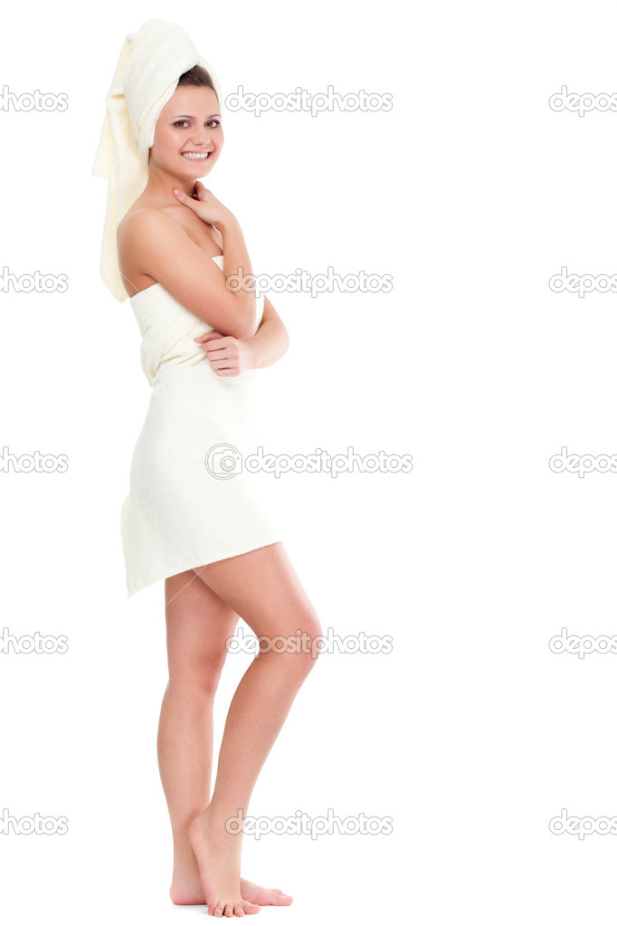 Standing woman wearing bath  towel on head — Stock Photo #5811653
