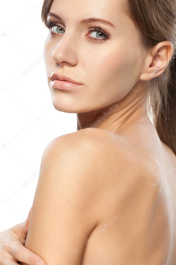 Beautiful woman face and shoulders over white  Stock Photo #5833747