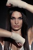 Ritratto di bella donna pugile — Foto Stock