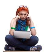 Happy girl with laptop — Stock Photo
