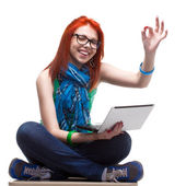 Happy girl with laptop — Stock Photo