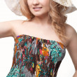 Woman posing wearing sundress - Stok fotoraf