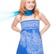 Woman posing wearing blue dress — Stock Photo