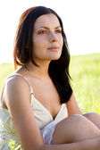 Closeup outdoors woman portrait — Stock Photo