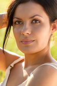 Closeup outdoors woman portrait — Stock Photo
