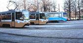 Three trams — Stock Photo