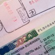 Visa and the press in the passport — Stock Photo