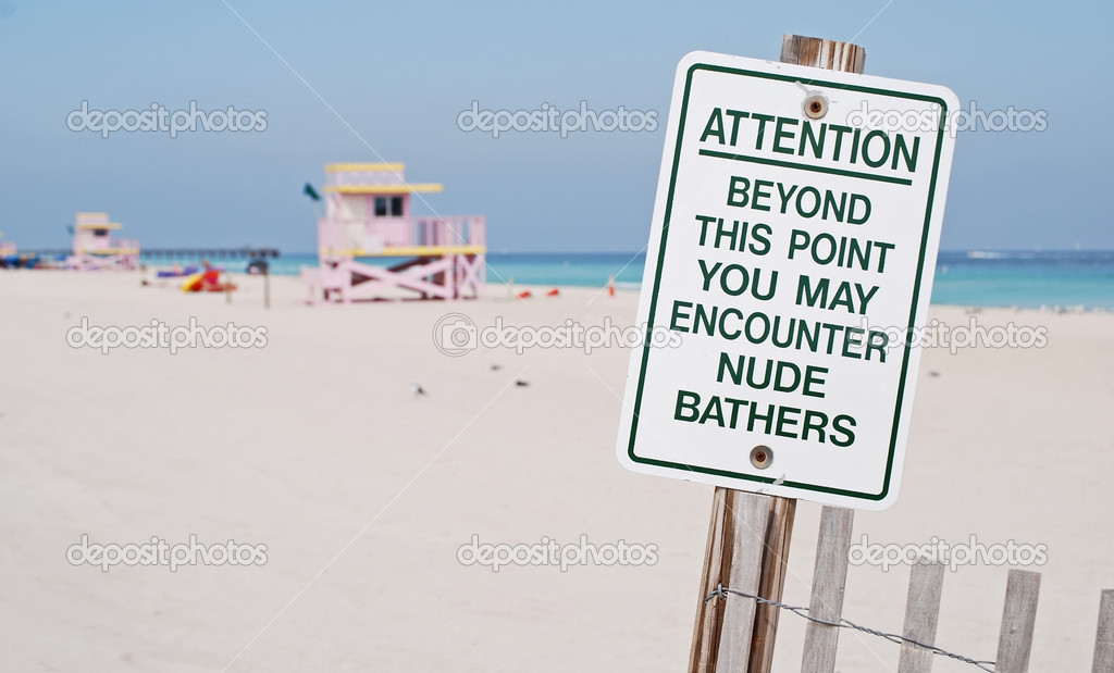 Attention: Nude Bathers Florida Beach Sign   Etsy