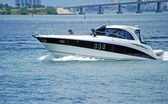Sleek Black and White Cabin Cruiser — Stock Photo