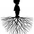 Stock Vector: Black silhouette of child with root