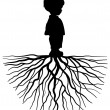 The black silhouette of a child with root — Stock Vector