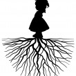 Stock Vector: Girl with root