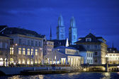 Zurich Grossmunster cathedral at night — Stock Photo