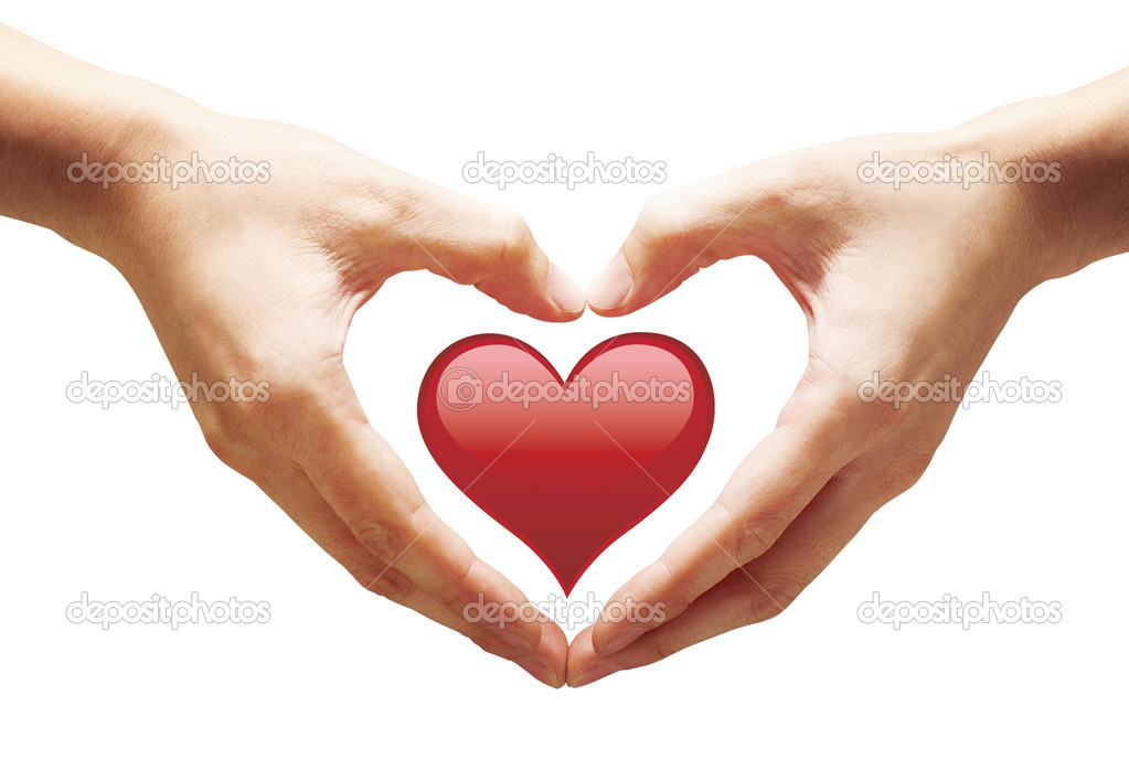 Nice situation with hands and heart — Stock Photo #5456425