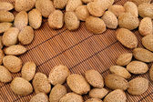 Almond nuts background — Stock Photo
