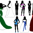 Illustration of women silhouette — Vettoriali Stock