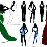 illustrazione di silhouette donna — Vettoriale Stock