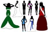 Illustration of women silhouette — Stock Vector